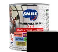 Эмаль Smile 3 в 1 молотковый эффект черный 0.7 кг