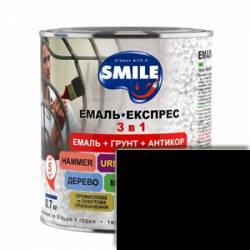 Грунт эмаль 3 в 1 антикоррозионная Smile чёрный 0.8 кг