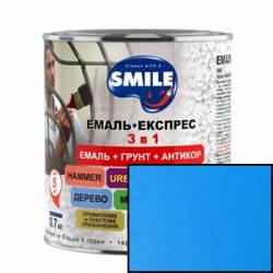 Грунт эмаль 3 в 1 антикоррозионная Smile голубой 0.8 кг